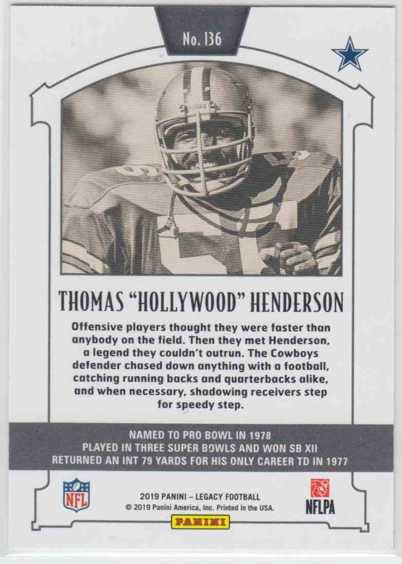 "2019 Panini Legacy Legends Orange Thomas ""Hollywood"" Henderson #136 card back image"