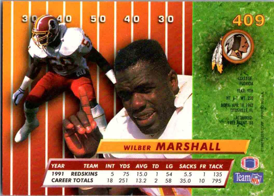 1992 Fleer Ultra Wilber Marshall #409 card back image