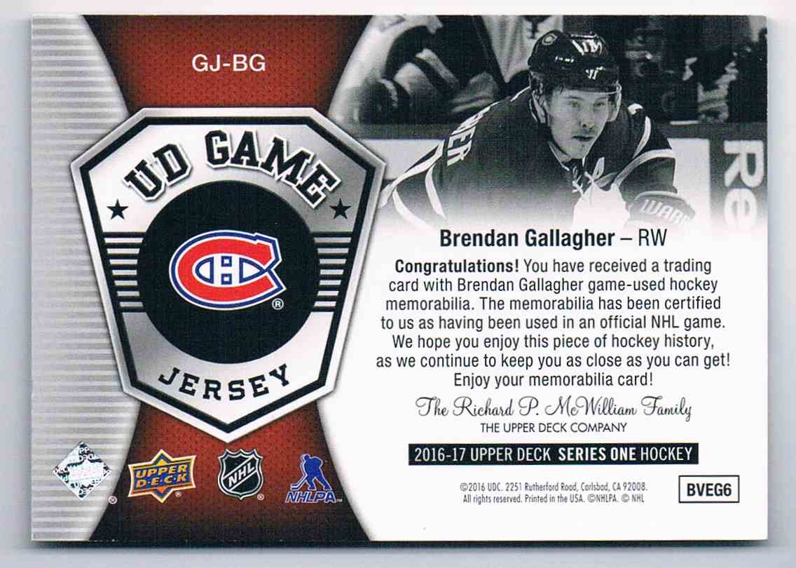 2016-17 Upper Deck UD Game Jerseys Brendan Gallagher #GJ-BG card back image