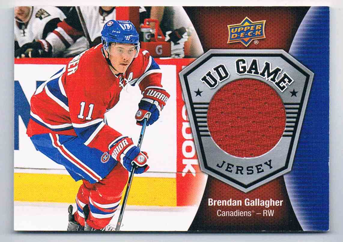 2016-17 Upper Deck UD Game Jerseys Brendan Gallagher #GJ-BG card front image