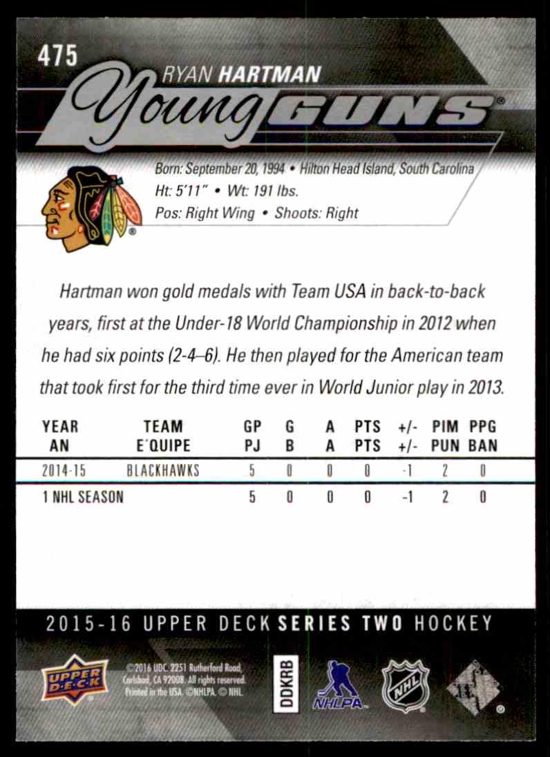 2015-16 Upper Deck Series One Ryan Hartman #475 card back image