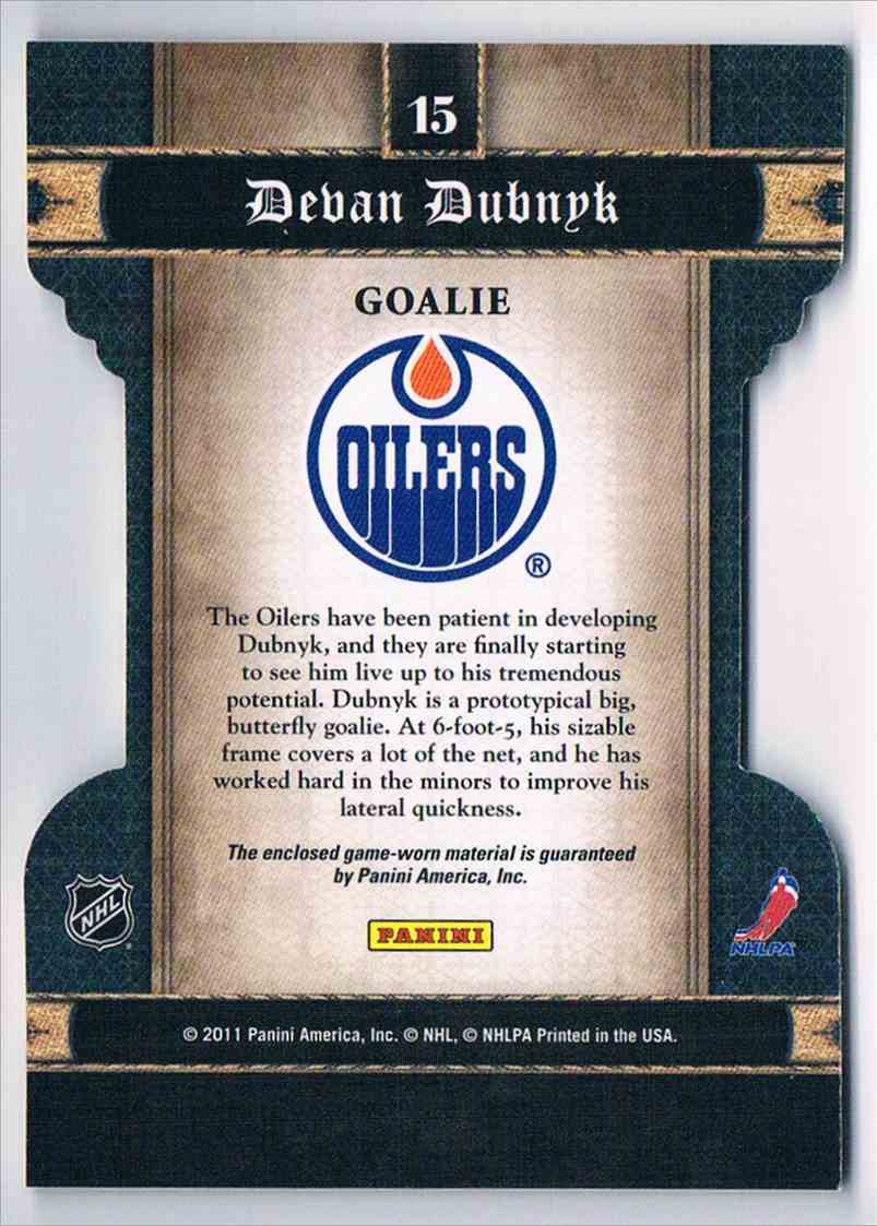 2011-12 Panini Crown Royale Heirs To The Throne Devan Dubnyk #15 card back image