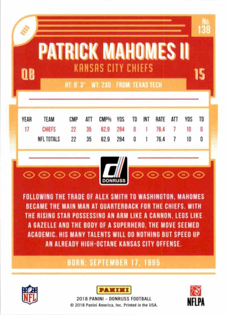 2018 Donruss Patrick Mahomes II #138 card back image