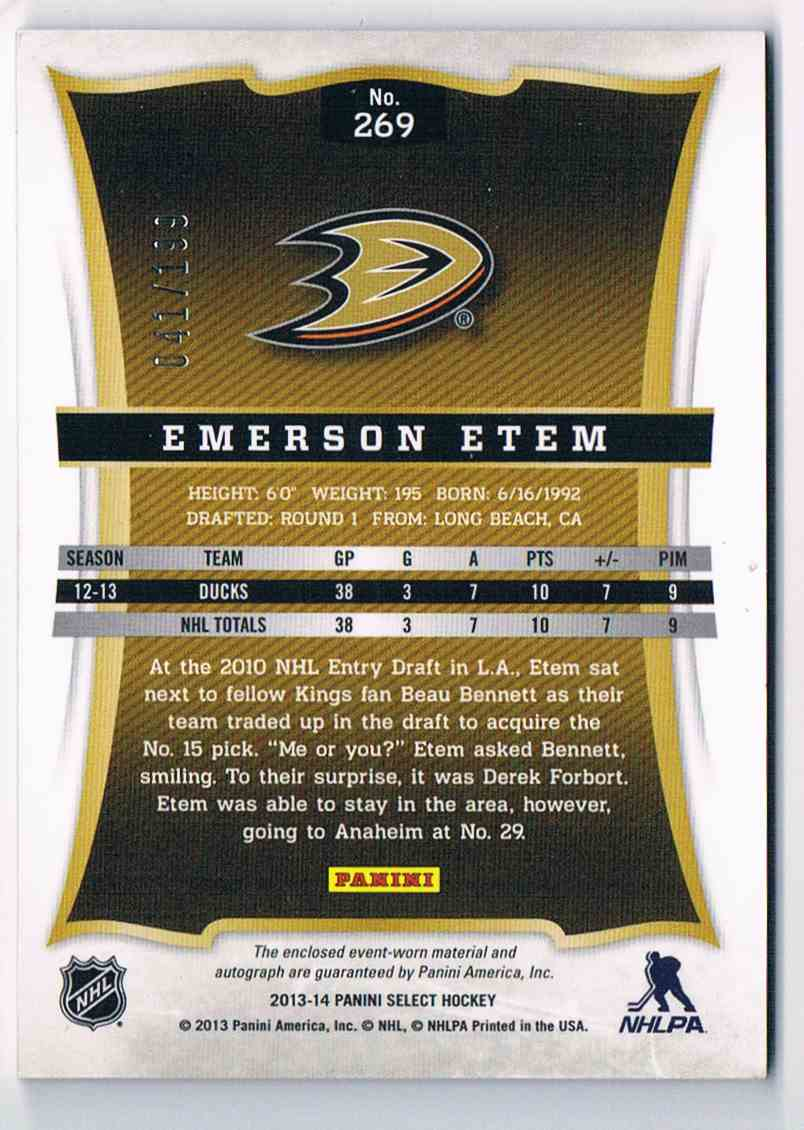 2013-14 Panini Select Rookie Jersey Autograph Emerson Etem #269 card back image
