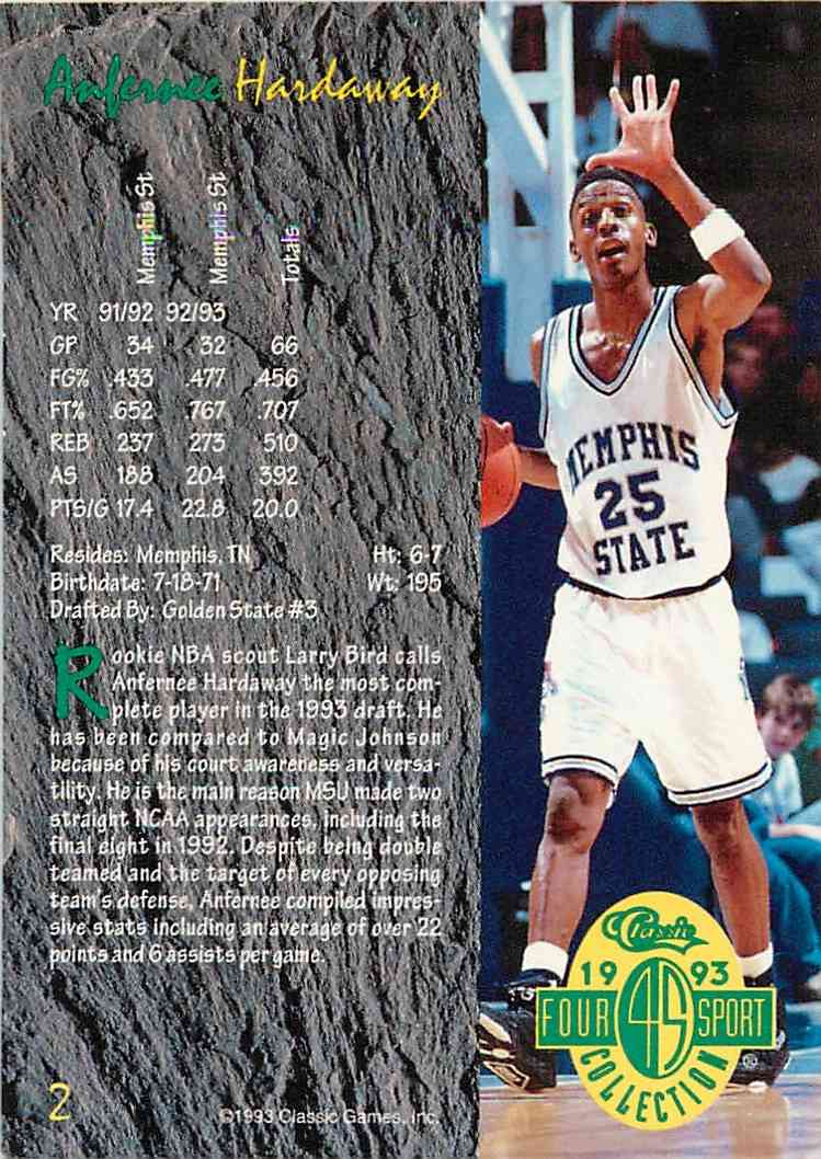 1993-94 Classic Four Sport Collection Anfernee Hardaway #2 card back image