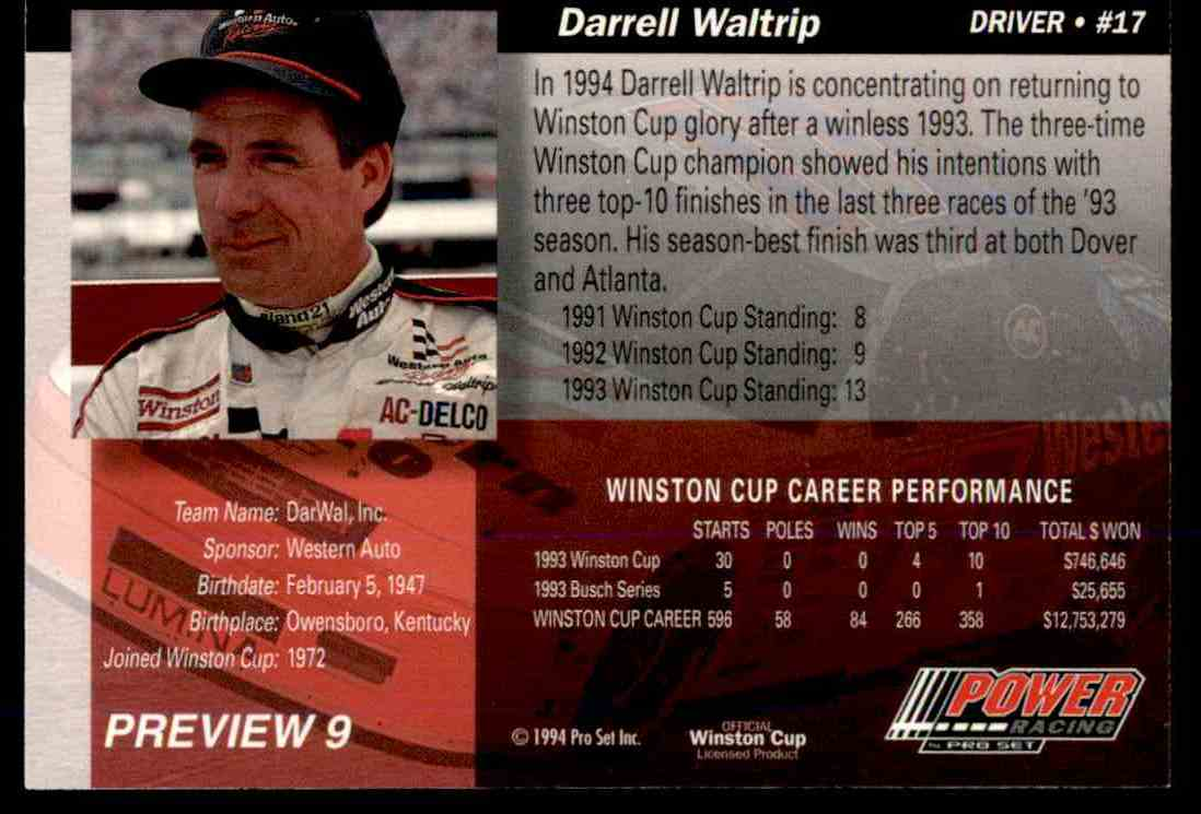1994 Pro Set Power Racing Darrell Waltrip #PREVIEW 9 card back image