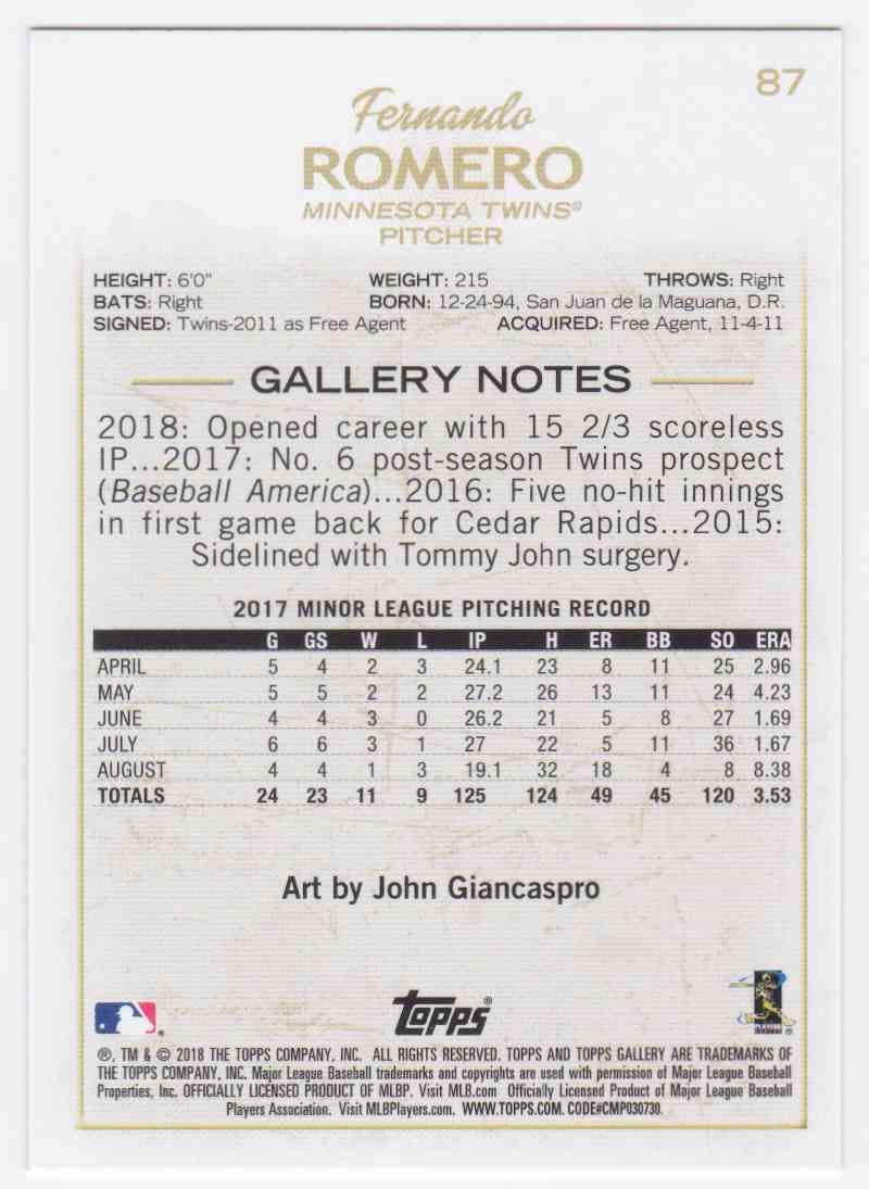 2018 Topps Gallery Fernando Romero #87 card back image