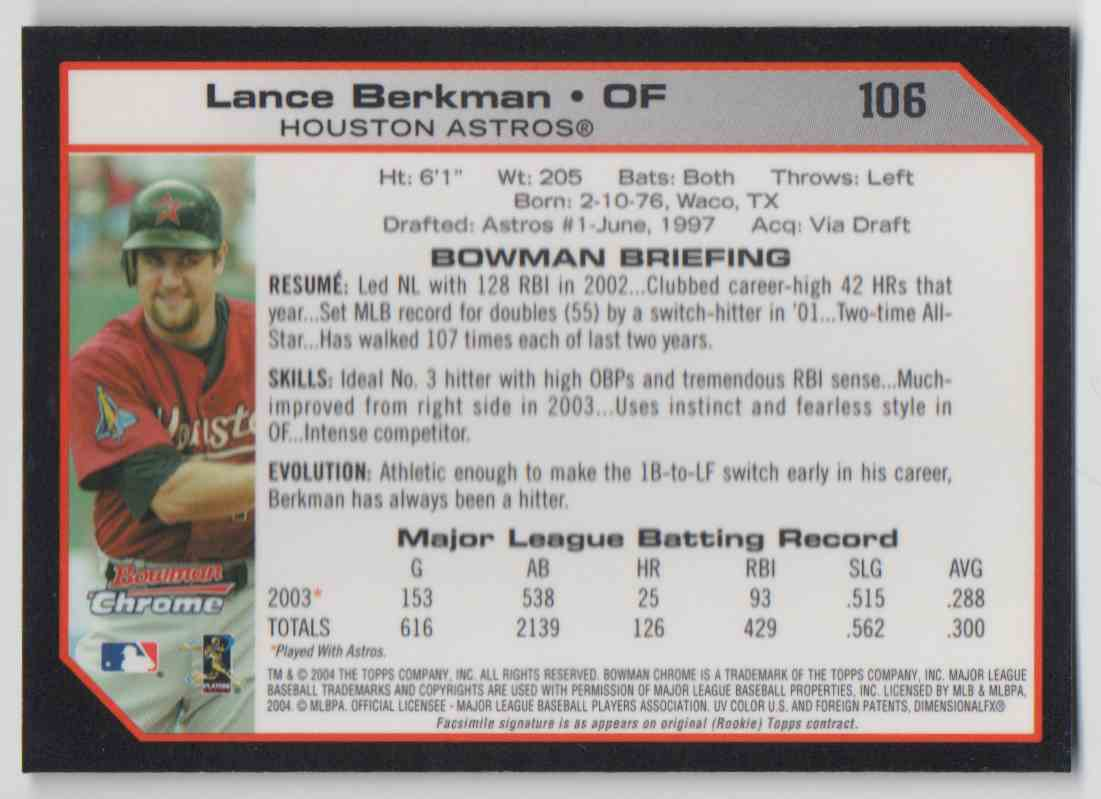 2004 Bowman Chrome Lance Berkman #106 card back image