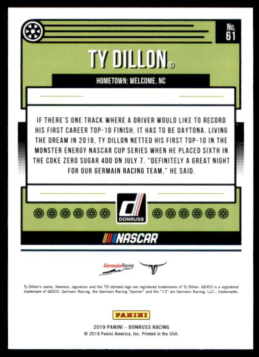 2019 Donruss Ty Dillon #61 card back image