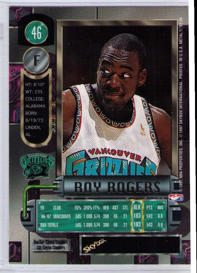 1997-98 Metal Universe Basketball SP Roy Rogers #46 card back image