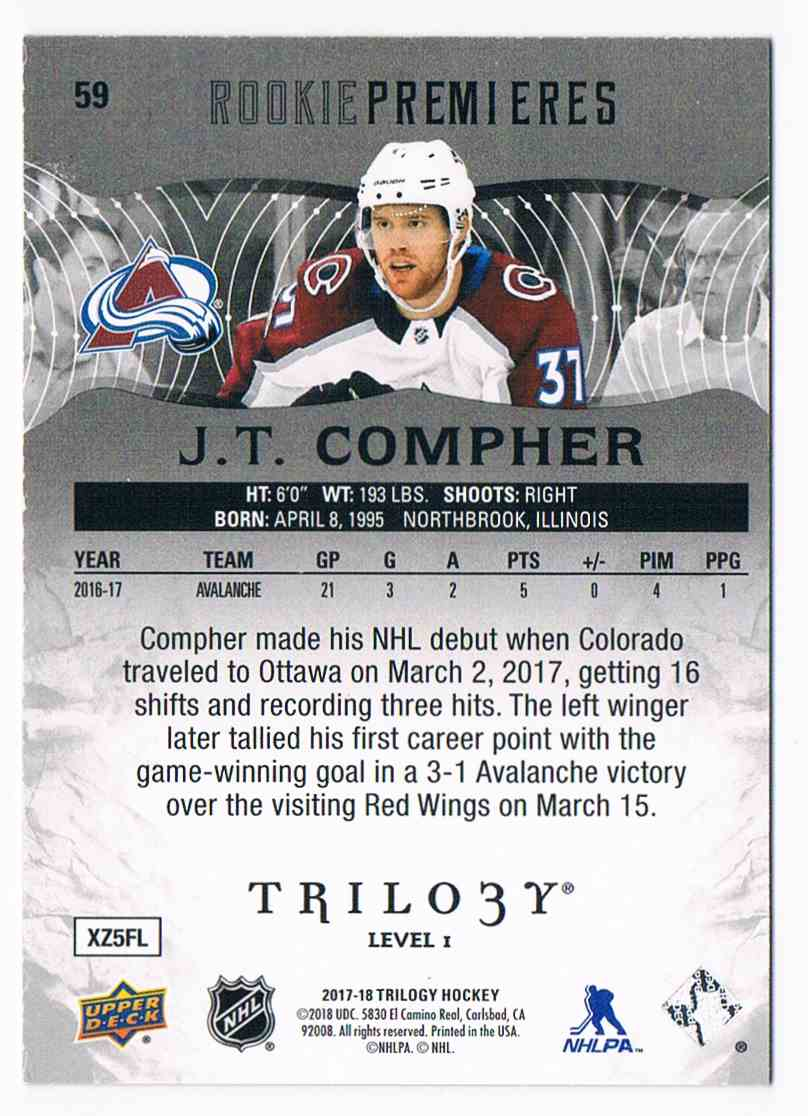2017-18 Trilogy Black Rookie Premieres J.T. Compher #59 card back image