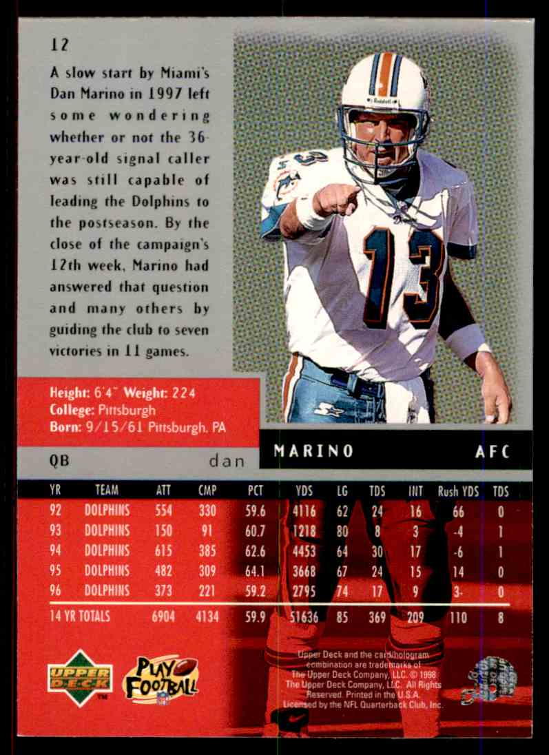 1998 Upper Deck Black Diamond Dan Marino #12 card back image