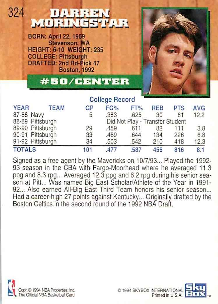 1993-94 Hoops Darren Morningstar #324 card back image