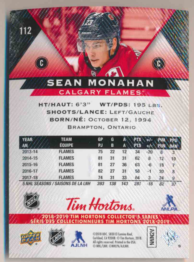 2018-19 Upper Deck Tim Hortons Sean Monahan #112 card back image