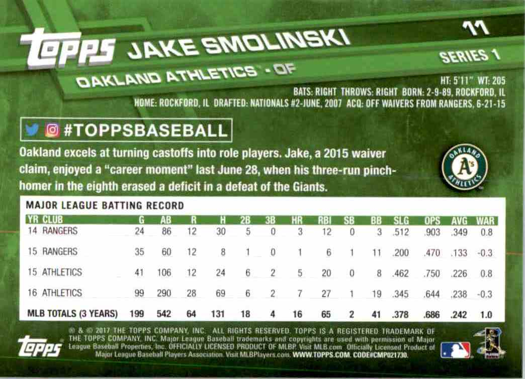 2017 Topps Series 1 Jake Smolinski #11 card back image
