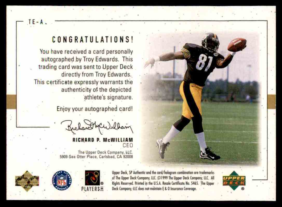 1999 SP Player's Ink Troy Edwards #TE-A card back image