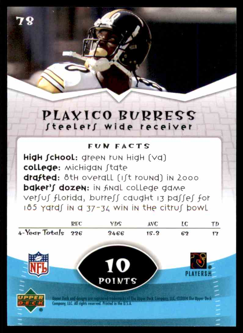 2004 Upper Deck Power Up Plaxico Burress #78 card back image