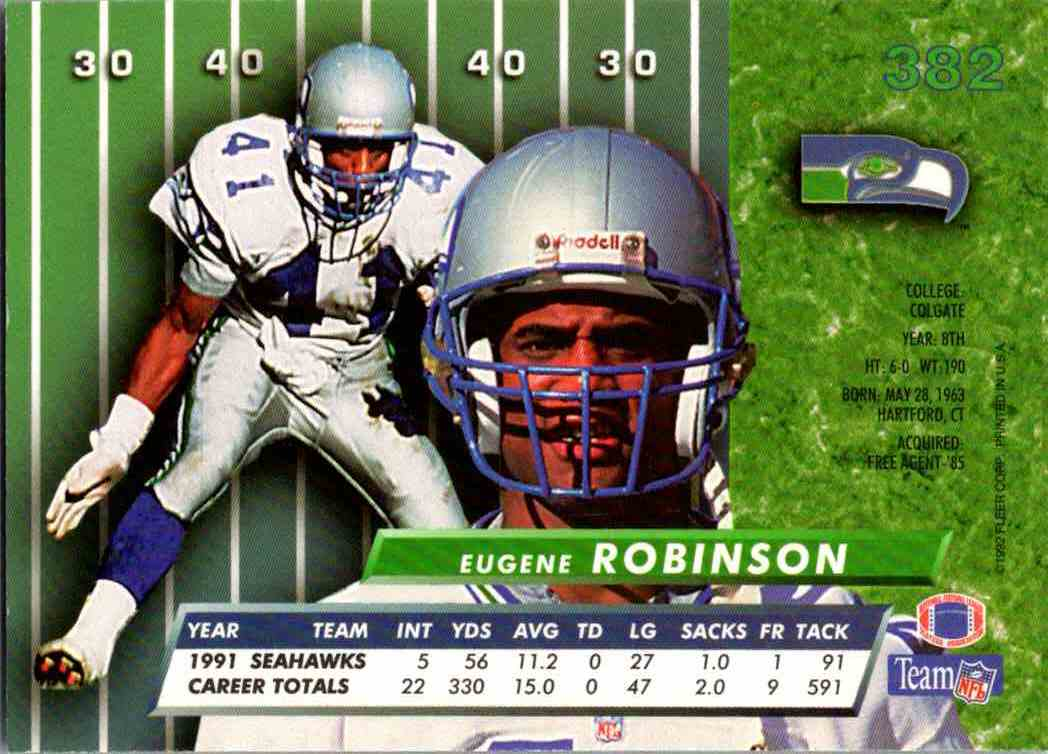 1992 Fleer Ultra Eugene Robinson #382 card back image