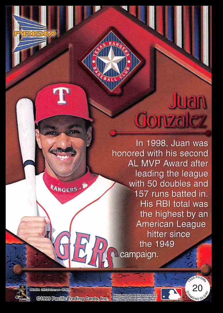 1999 Pacific Prism Diamond Glory Juan Gonzalez #20 card back image