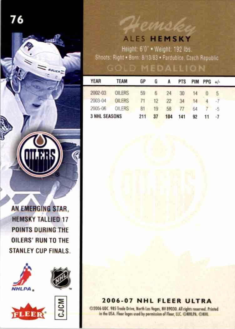 2006-07 Fleer Ultra Gold Medallion Ales Hemsky #76 card back image