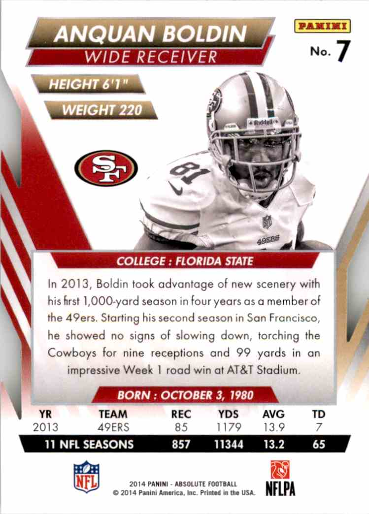 2014 Absolute Retail Anquan Boldin #7 card back image
