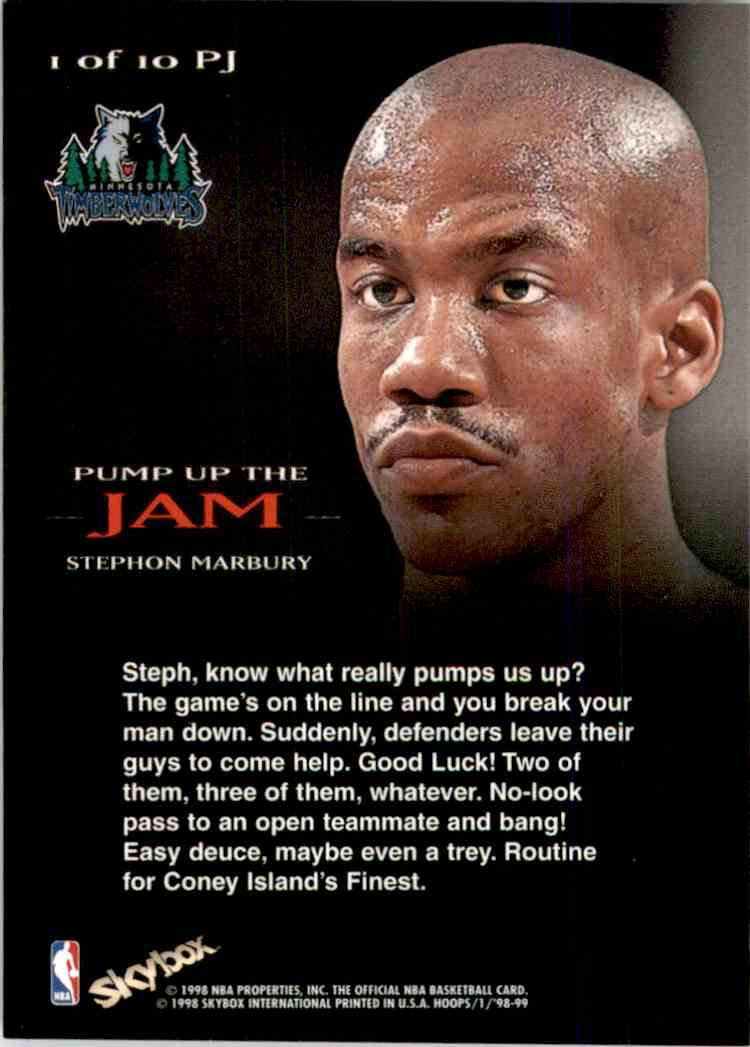 1998-99 Hoops Pump Up The Jam Stephon Marbury #1 card back image