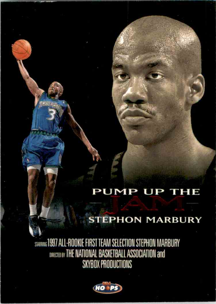 1998-99 Hoops Pump Up The Jam Stephon Marbury #1 card front image