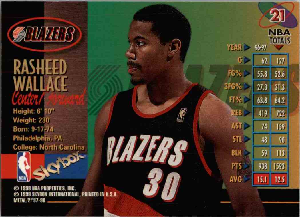 1998-99 Skybox Metal Rasheed Wallace #21 card back image