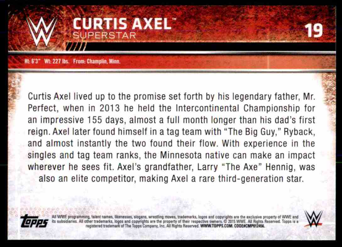 2015 Topps Wwe Curtis Axel #19 card back image