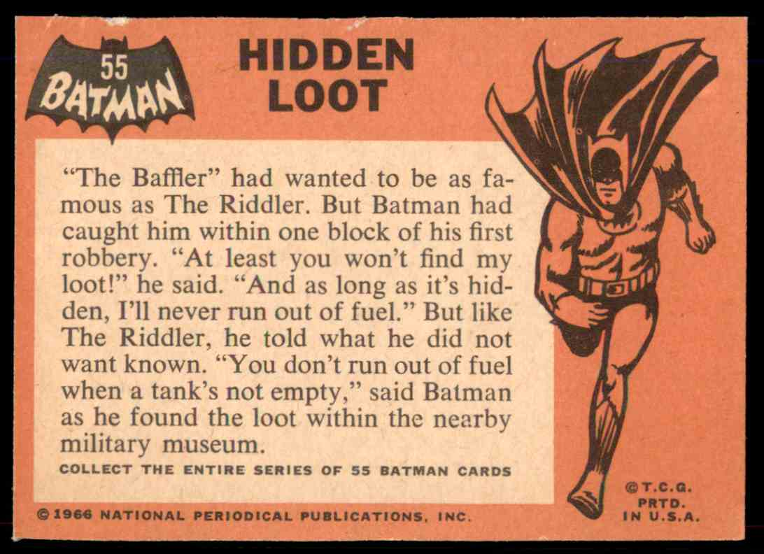 1966 Topps Batman Black Bat Hidden Loot #55 card back image
