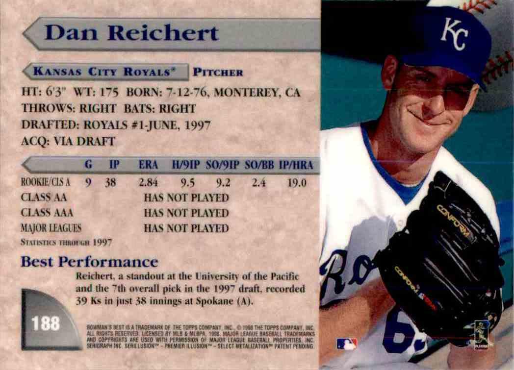 1998 Bowmans Best Dan Reichert #188 card back image