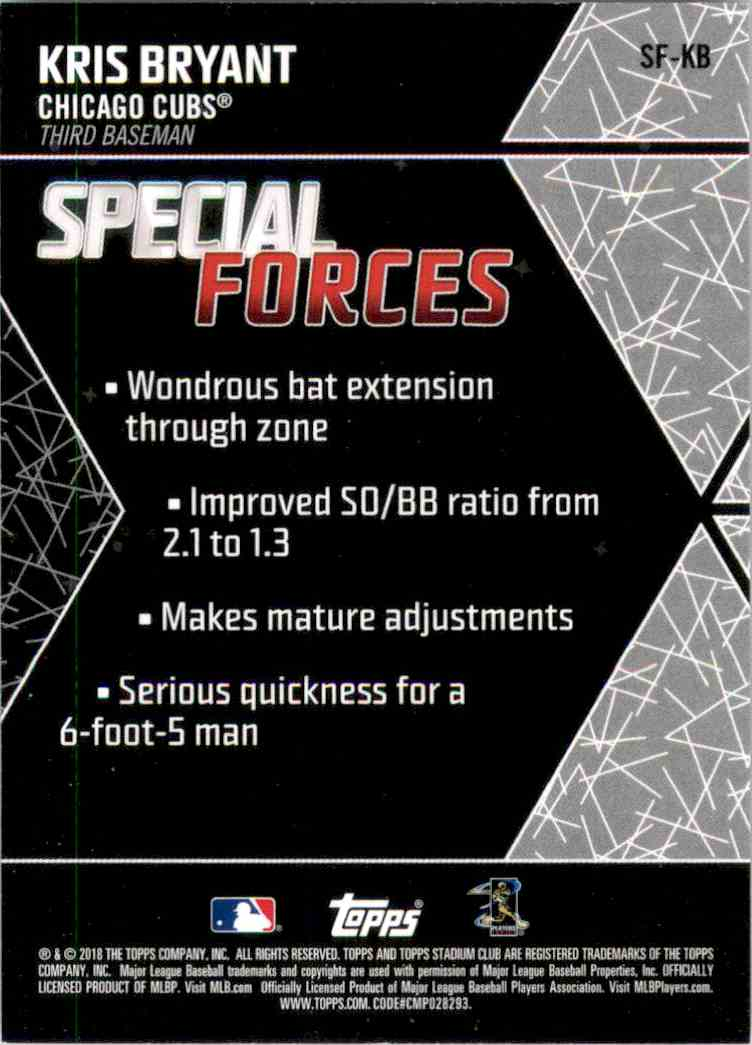 2018 Stadium Club Special Forces Black Kris Bryant #SFKB card back image