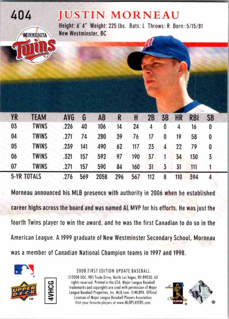 2008 Upper Deck First Edition Justin Morneau #404 card back image
