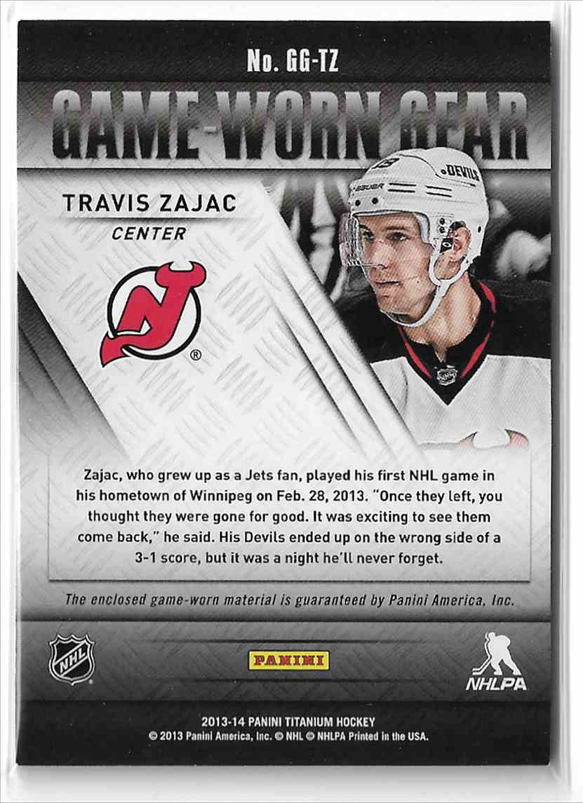 2013-14 Panini Titanium Game-Worn Gear Travis Zajac #GG-TZ card back image