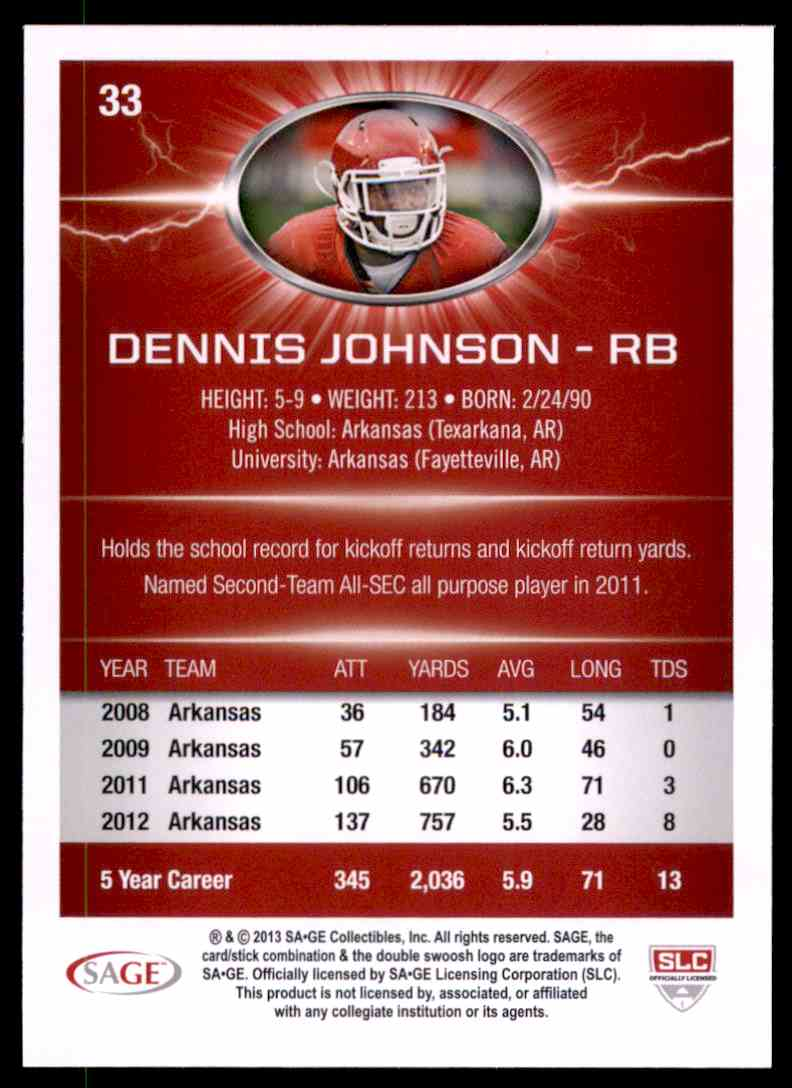 2013 Sage Hit Dennis Johnson #33 card back image