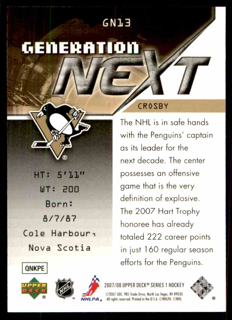2007-08 Upper Deck Generation Next Sidney Crosby #GN13 card back image