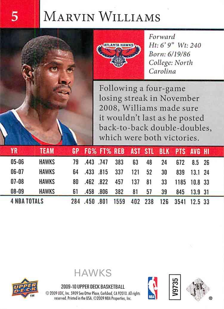 2010-11 Upper Deck Marvin Williams #5 card back image