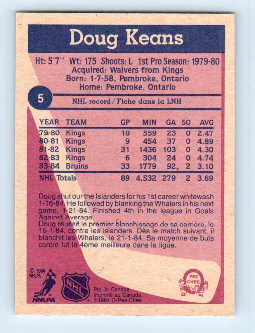 1984-85 O-Pee-Chee Doug Keans #5 card back image