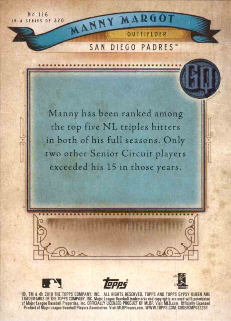 2019 Gypsy Queen Manny Margot #116 card back image