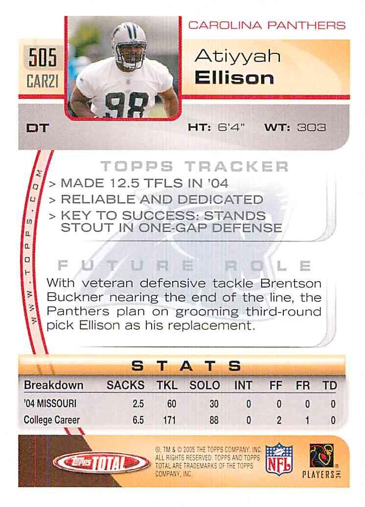 2005 Topps Total Atiyyah Ellison #505 card back image