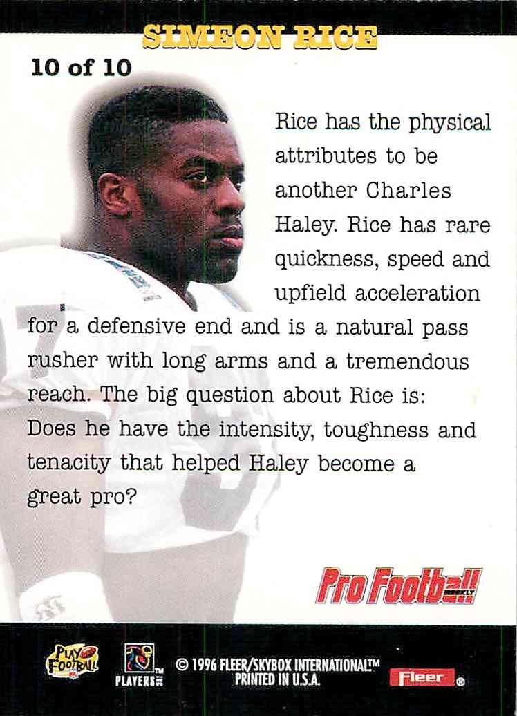 1996 Fleer Skybox Simeon Rice #10 card back image