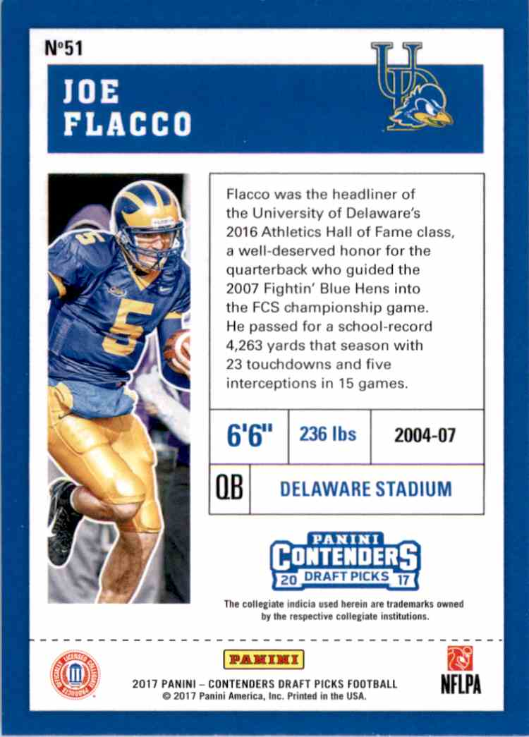 2017 Panini Contenders Draft Picks Joe Flacco #51 card back image