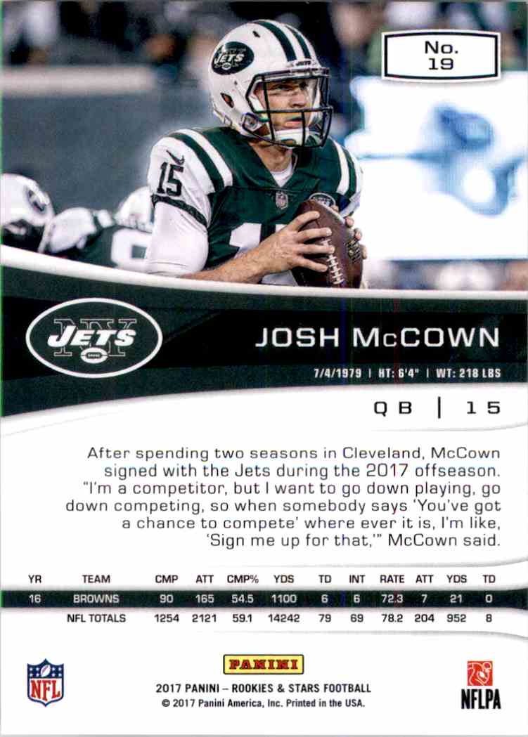 2017 Rookies And Stars Josh McCown #19 card back image