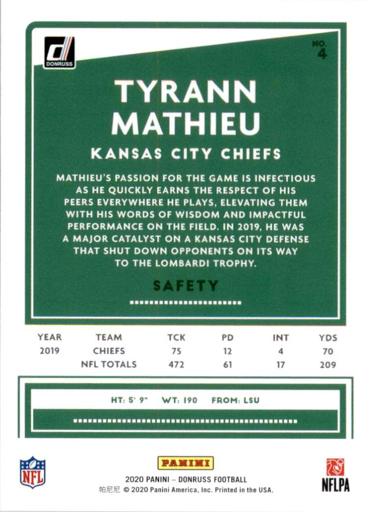 2020 Donruss Tyrann Mathieu #4 card back image