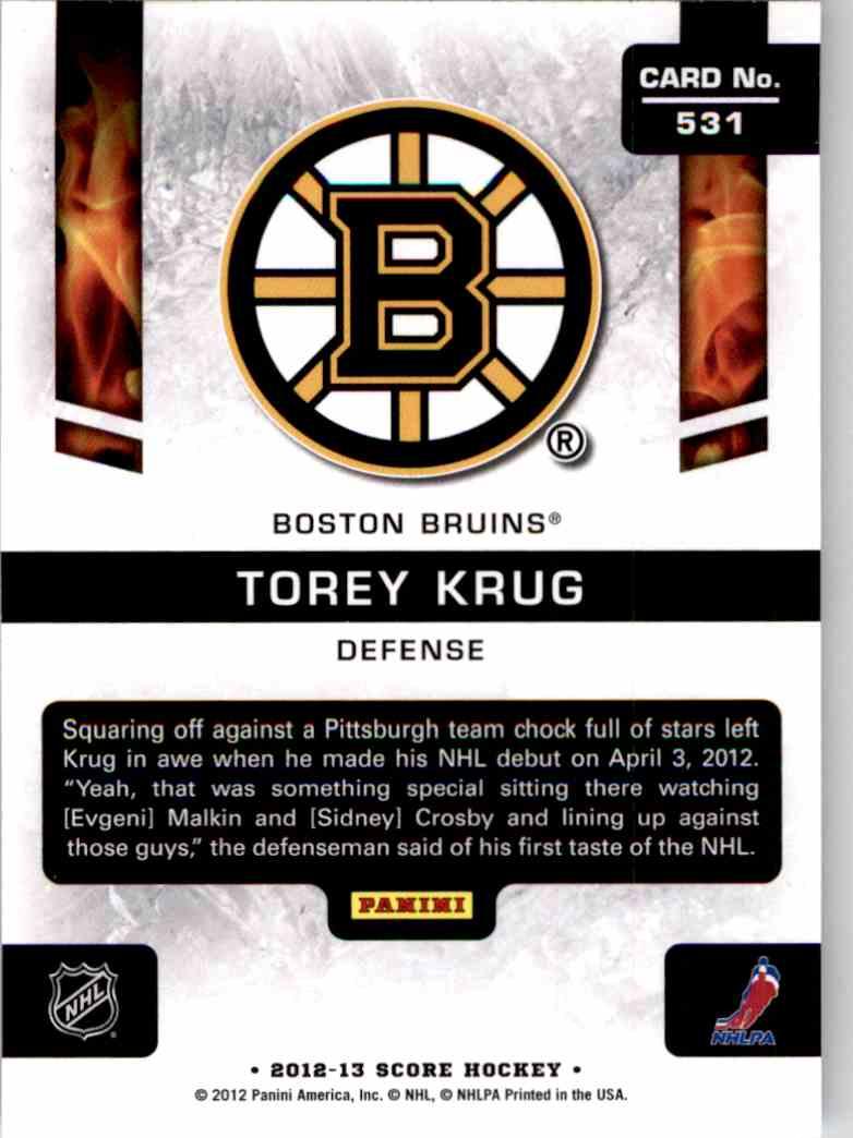 2012-13 Score Hot Rookies Torey Krug #531 card back image
