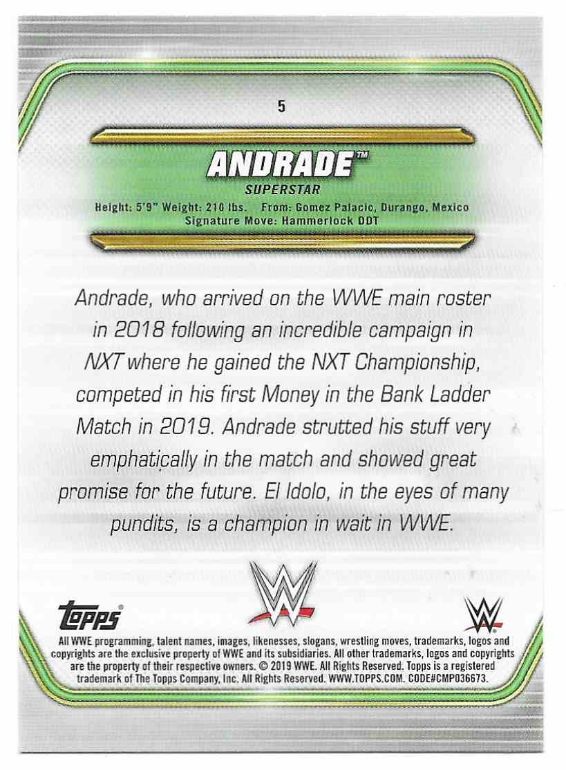 2019 Topps Wwe Money In The Bank Andrade #5 card back image