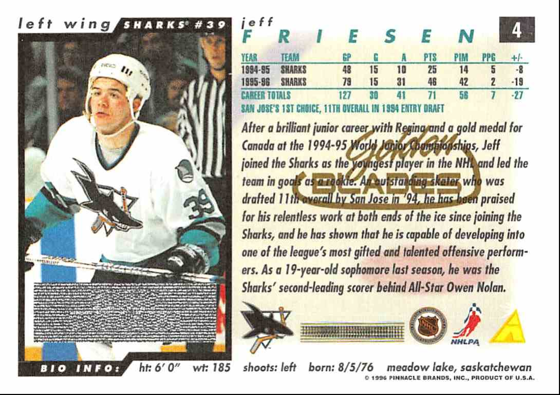 1996-97 Score Golden Blades Jeff Friesen #4 card back image