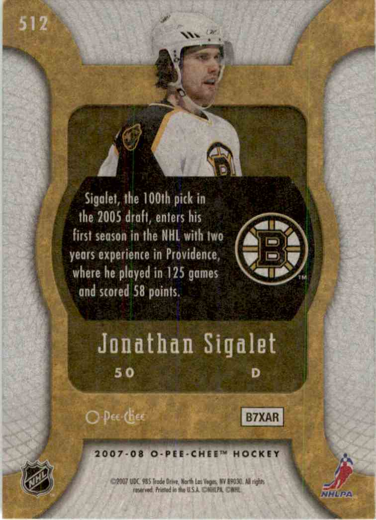 2007-08 O-Pee-Chee Marquee Rookie Jonathan Sigalet #512 card back image