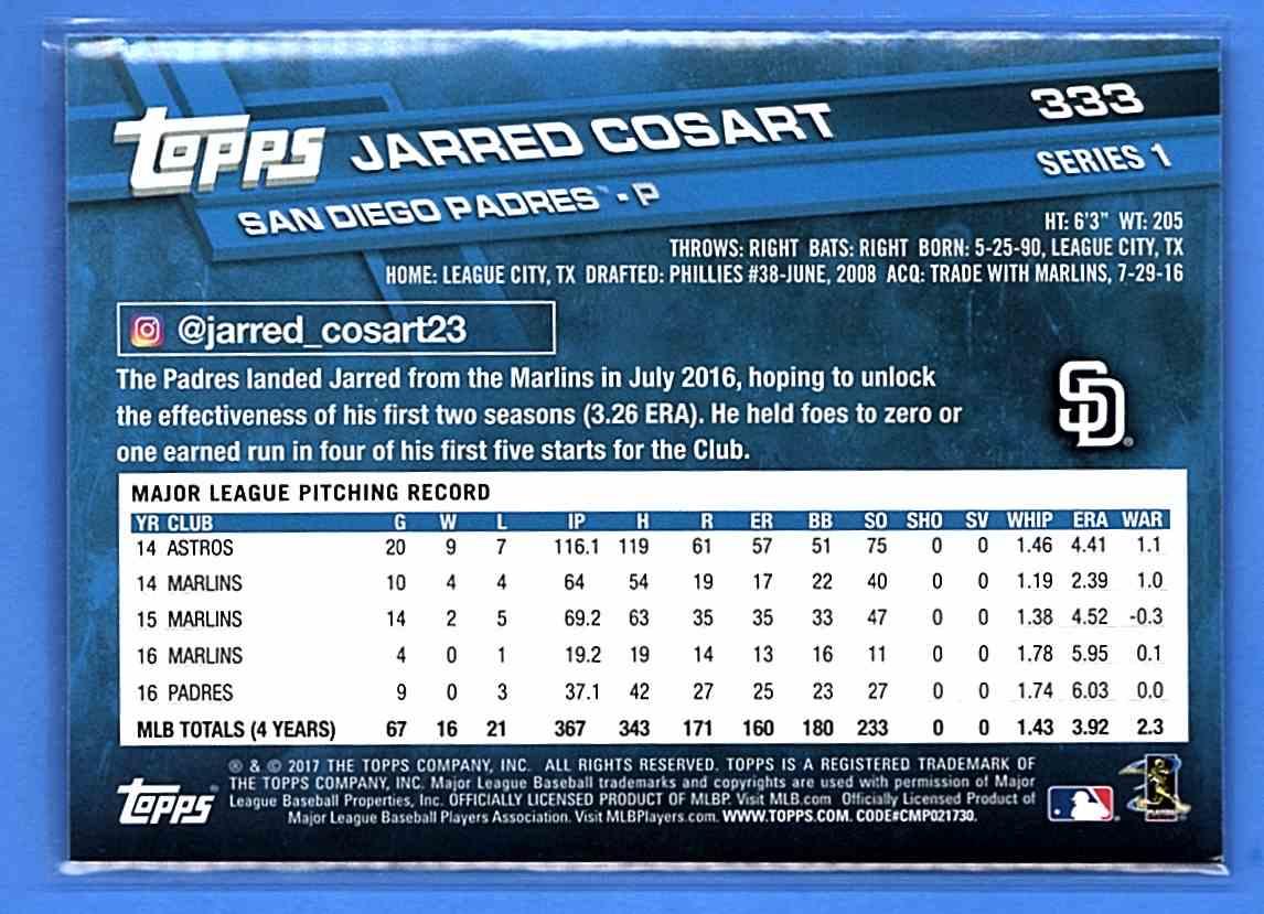2017 Topps Jarred Cosart #333 card back image