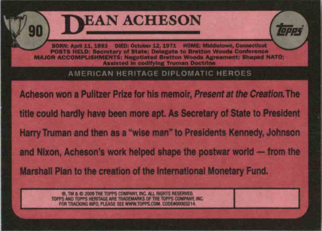 2009 Topps Heritage Dean Acheson #90 card back image